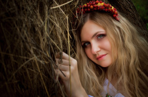 Ukrainian beautiful woman in the hayloft